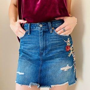 Abercrombie & Fitch floral embroidered denim skirt